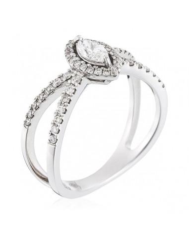 """Bague Or Blanc 750/1000 """"Até"""" Diamants : 0,29 ct/48 Centre 0,24/1"""