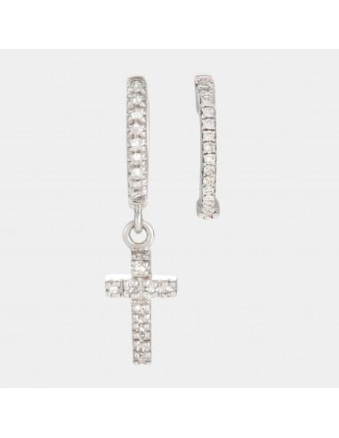 """Parure Boucles d'oreilles Or Blanc 375/1000 """"Perfect créoles"""" Diamant 0,04 ct/21 et Charms Cross or blanc D0,055/18"""