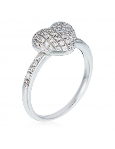 Bague Cœur d'amour Diamants 0,4ct Or Blanc