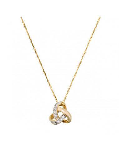 Pendentif Noeud Elegance Or Jaune et Diamant 0,04ct