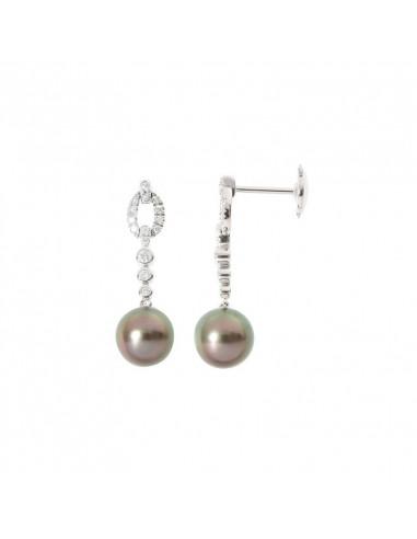 Boucles d'oreilles  Douceur deThaiti Or Blanc et Diamant 0,28ct Perle de Tahïti