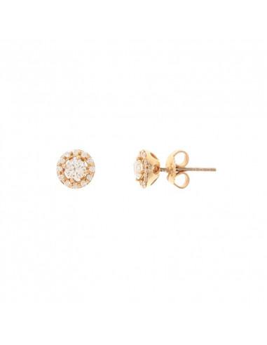 Boucles d'oreilles Pastilles Or Jaune et Diamant 0,54ct Diamant 0,2ct