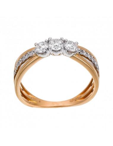 Bague Parenthèse de Diamant Or Bicolore et Diamant 0,48ct