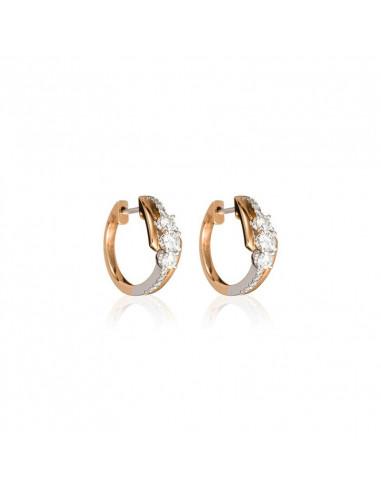 Boucles d'oreilles Entre Guillemet Or Bicolore et Diamant 0,51ct