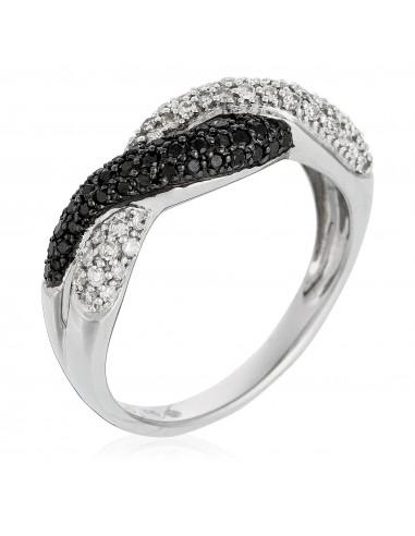 Bague Johannesburg Or Blanc et Diamants noirs: 1 Carat