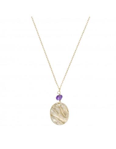 Collier Médaille d'or Améthyste 0,20ct Or Jaune