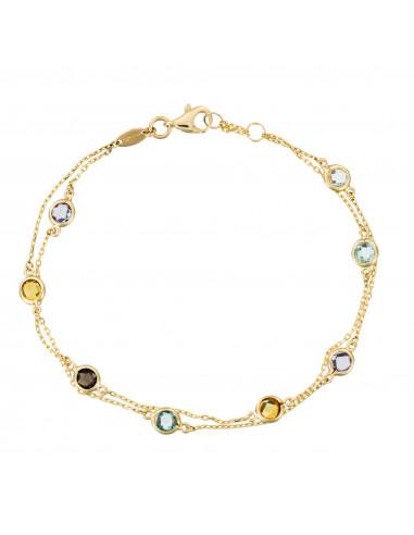 Bracelet Colormix Citrine 0,30ct Améthyste 0,25ct Topaze 0,35ct Quartz 0,24ct Quartz fumé 0,25ct Or Jaune